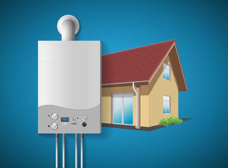 家の暖房の概念 - 現代の家庭用ガスはボイラーを発射 - エネルギーと現金節約。  イラスト・ベクター素材