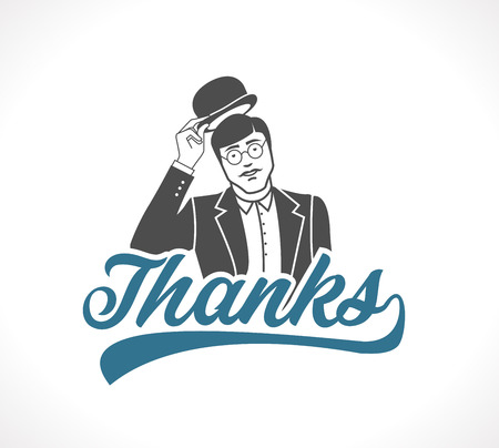 Thank you concept sign - Man taking off his hat - icon.