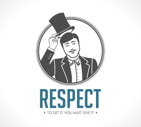 Respecteer logo - conceptenteken - mens die zijn hoed opstijgt - pictogram