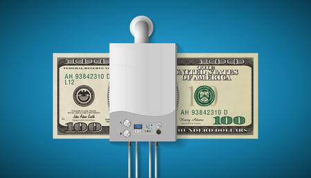 Huisverwarmingsconcept - moderne thuisgestookte gasketel - energie- en cashbesparingen. Stock Illustratie