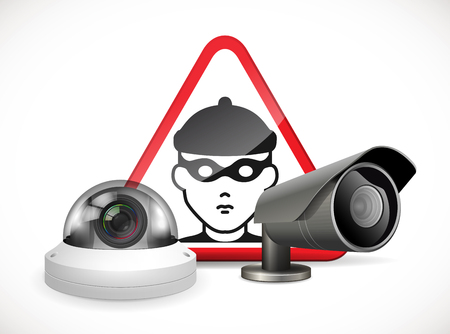 CCTV symbol security camera with warning sign
