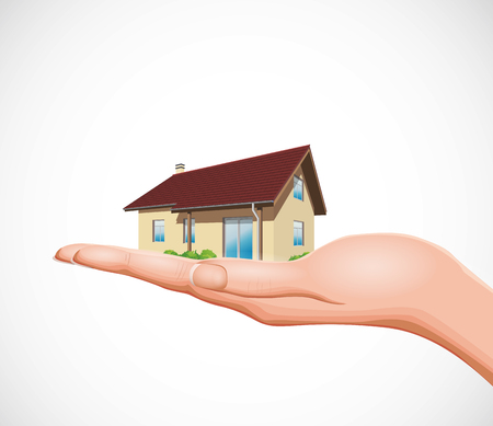 Real estate concept - house on hand Illustration
