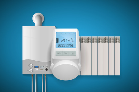 Domestic heating system concept with appliance and energy saving illustration.