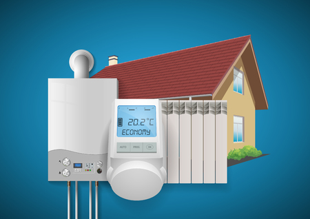 Domestic heating system concept. Vectores
