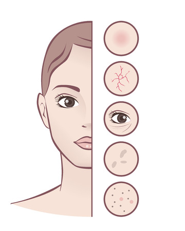 Spa concept - skin care - young beautiful woman Illustration