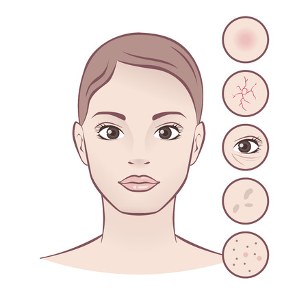 Spa concept, skin care, young beautiful woman. Illustration