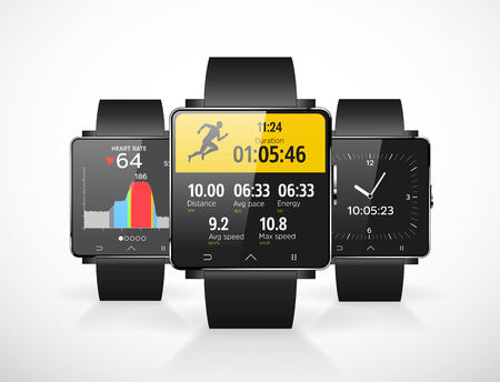 Sport smartwatch for runners - mobile application Vectores