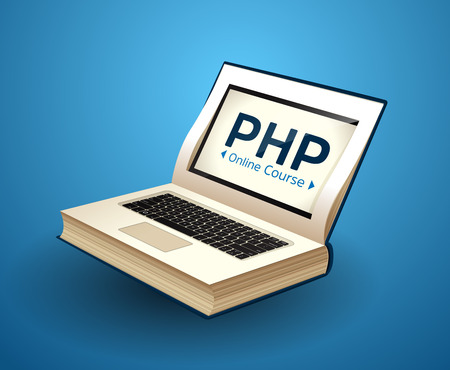 Programming language concept - PHP, CSS, XML, HTML, Javascript learning - book as laptop Vector illustration.