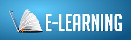 Concepto de elearning: computadora portátil como libro en pancarta azul con la palabra E-LEARNING