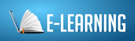 Elearning concept - laptop as book on blue banner with word E-LEARNING