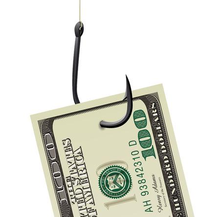 Fishhook business concept - money symbol as trap Vector illustration.