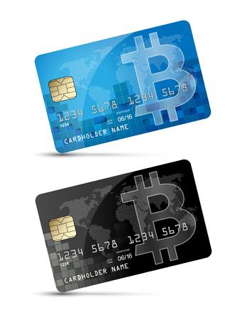 Bitcoin symbol as credit card concept Illusztráció