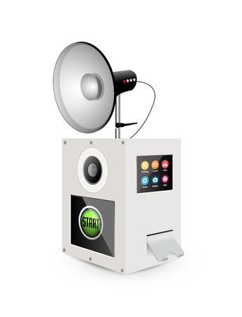 Photobox concept - photo camera with flashlamp - selfie maker Illusztráció