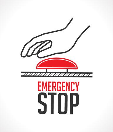 Emergency stop button - concept icon Illusztráció