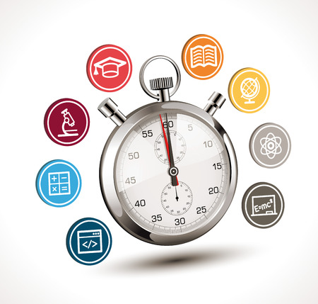 Time to learn concept - stopwatch with school symbols - biology, chemistry, physics, mathematics, literature, geography, programming