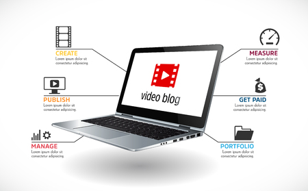 Laptop as video blog concept - vlog recording and publishing