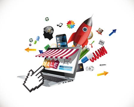 Laptop as marketplace - computer e-commerece concept - big sale Illusztráció