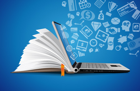 Computer as a knowledge base concept - laptop as elearning idea Çizim