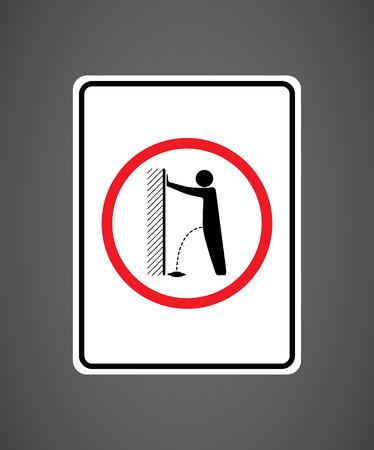 No orinar, por favor - pare el acto de vandalismo señal de tráfico - prohibición de orinar Ilustración de vector