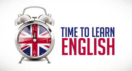 Alarm clock with british flag on clock face - learning concept Stok Fotoğraf - 110564648