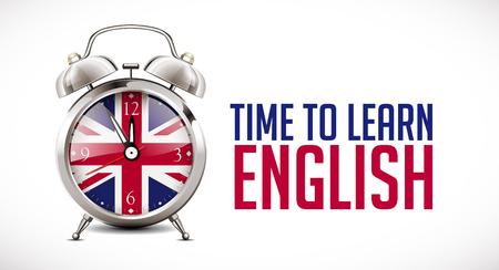Sveglia con bandiera britannica sul quadrante dell'orologio - concetto di apprendimento