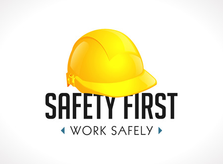Safety first concept - work safety sign yellow helmet