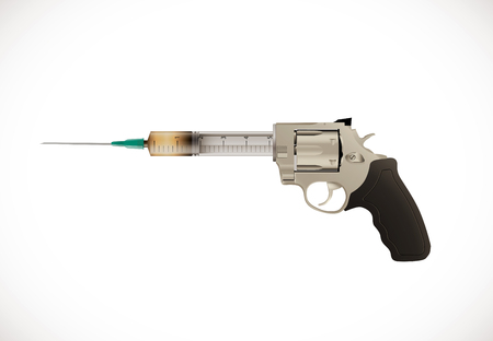 Vaccine concept - ace revolver hand gun with sign - poison or cure idea
