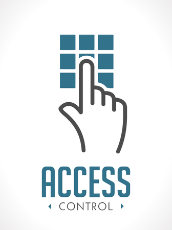 Access control technology  - hand as key concept - icon sign Illusztráció