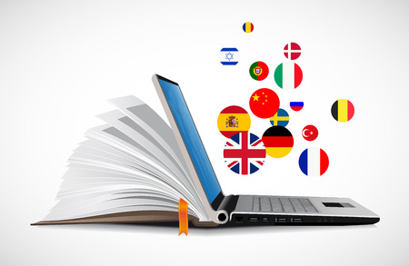 Laptop and book as an online dictionary - e-learning online language learning system