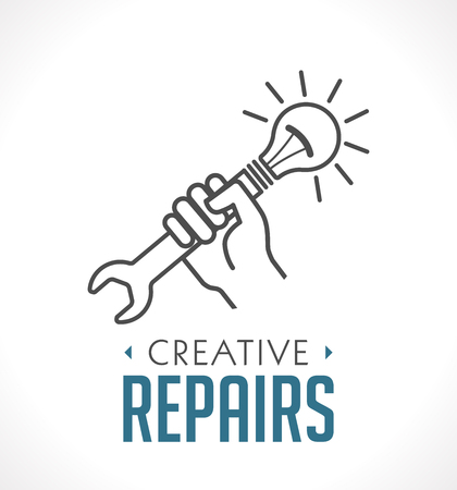 Repairs icon - hand with wrench concept Illusztráció