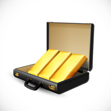 Business suitcase full of gold - briefcase concept