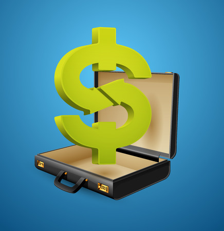 Business suitcase - finance concept - Dollar sign inside businessman briefcase Illusztráció