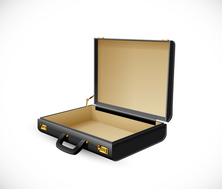 Business suitcase - finance concept - briefcase open and empty Çizim