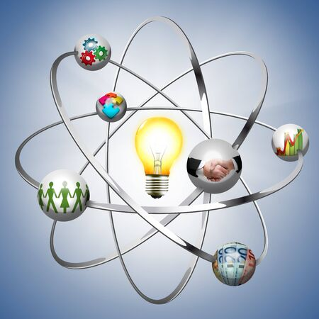 Business idea - work creative concept - atom with electrons