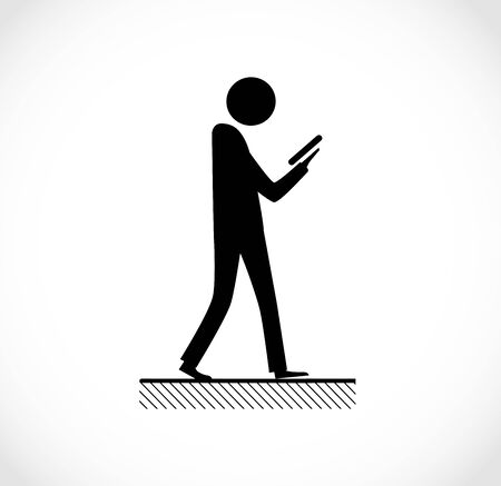 Danger on road sign concept - man with mobile phone walking through crossroad