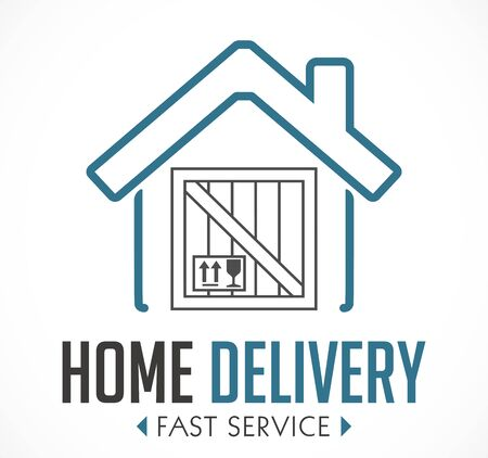 Home delivery concept - fast service during corona virus quarantine - supply of goods and food Illusztráció