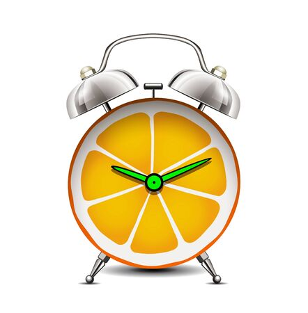 Time for vitamins - citrus fruit as a clock - Vitamin C for body immunity concept Illusztráció