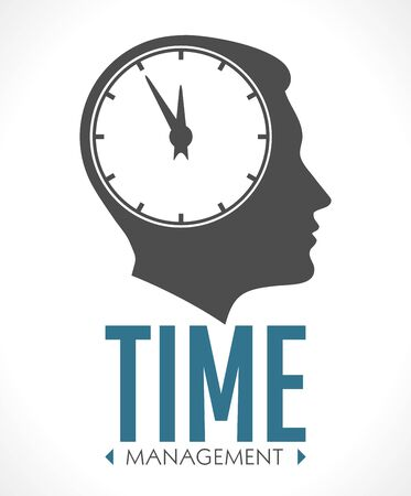 Human head with clock inside - time management concept
