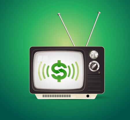 Retro tv reciver with green dollar sign on screen - business tv concept Illusztráció