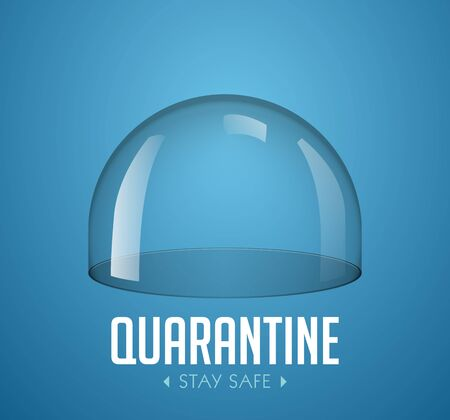 Quarantine concept - empty glass dome as isolation concept - stay at home safe Illusztráció