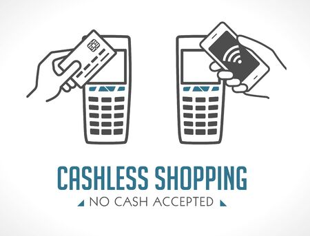 Cashless purchases - no cash accepted - shopping concept - cell phone and card payment only