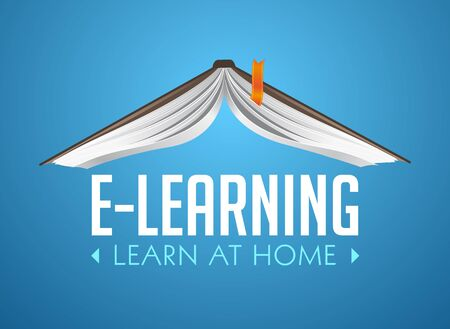 Book as a house roof - elearning idea - stay at home and learn without going to school Illusztráció
