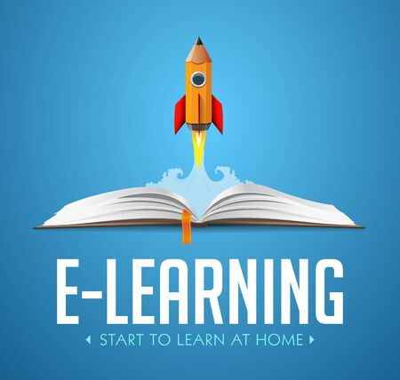 Elearning idea - stay at home and learn without going to school - Rocket launching from book - education concept Illusztráció