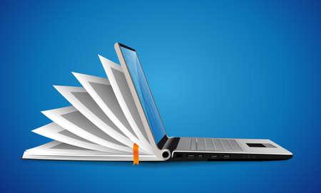 Computer as book knowledge base concept - laptop as elearning idea Vecteurs