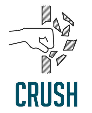 Crush concept - fist destroying wall