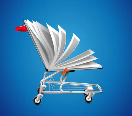 online store - ecommerce concept - book as shopping cart Stock fotó