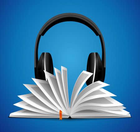 Audiobook concept - opened book with headphones
