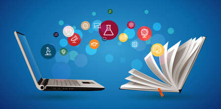 Computer as book knowledge base concept - laptop as elearning idea - stay at home and learn math, biology, history, geography, chemistry, physics, english Stock fotó