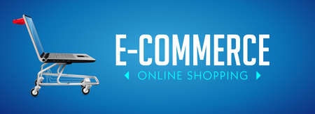 Online shop concept - PC computer as shopping cart