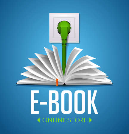 Ebook concept - book connected to electricity line